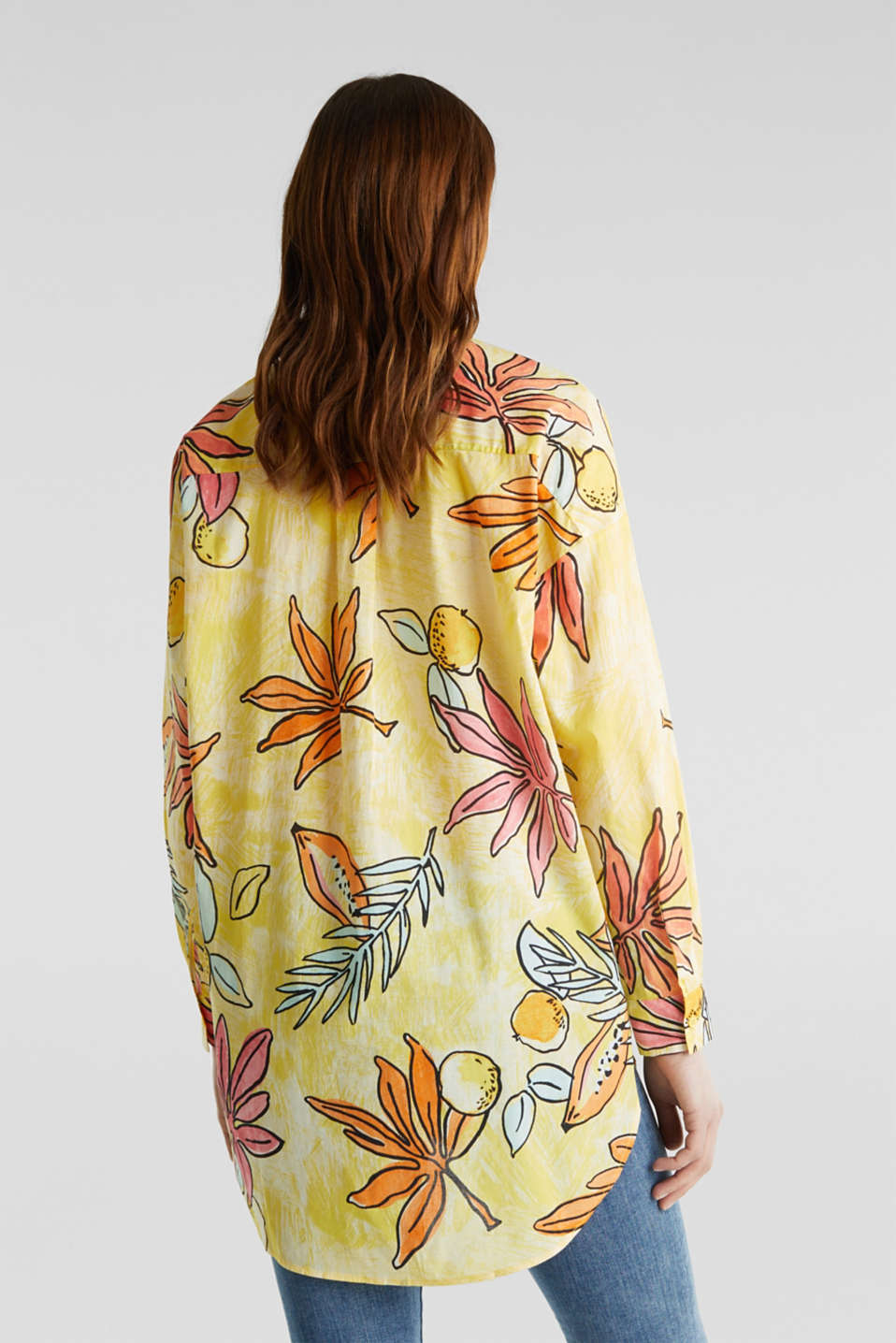 Long blouse with a print, 100% cotton, BRIGHT YELLOW 4, detail image number 3