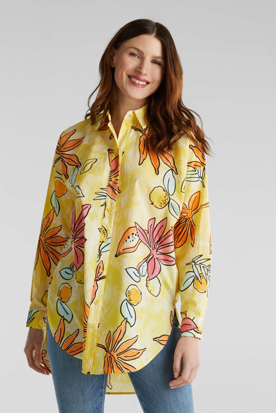 Longbluse mit Print, 100% Baumwolle, BRIGHT YELLOW 4, detail image number 5