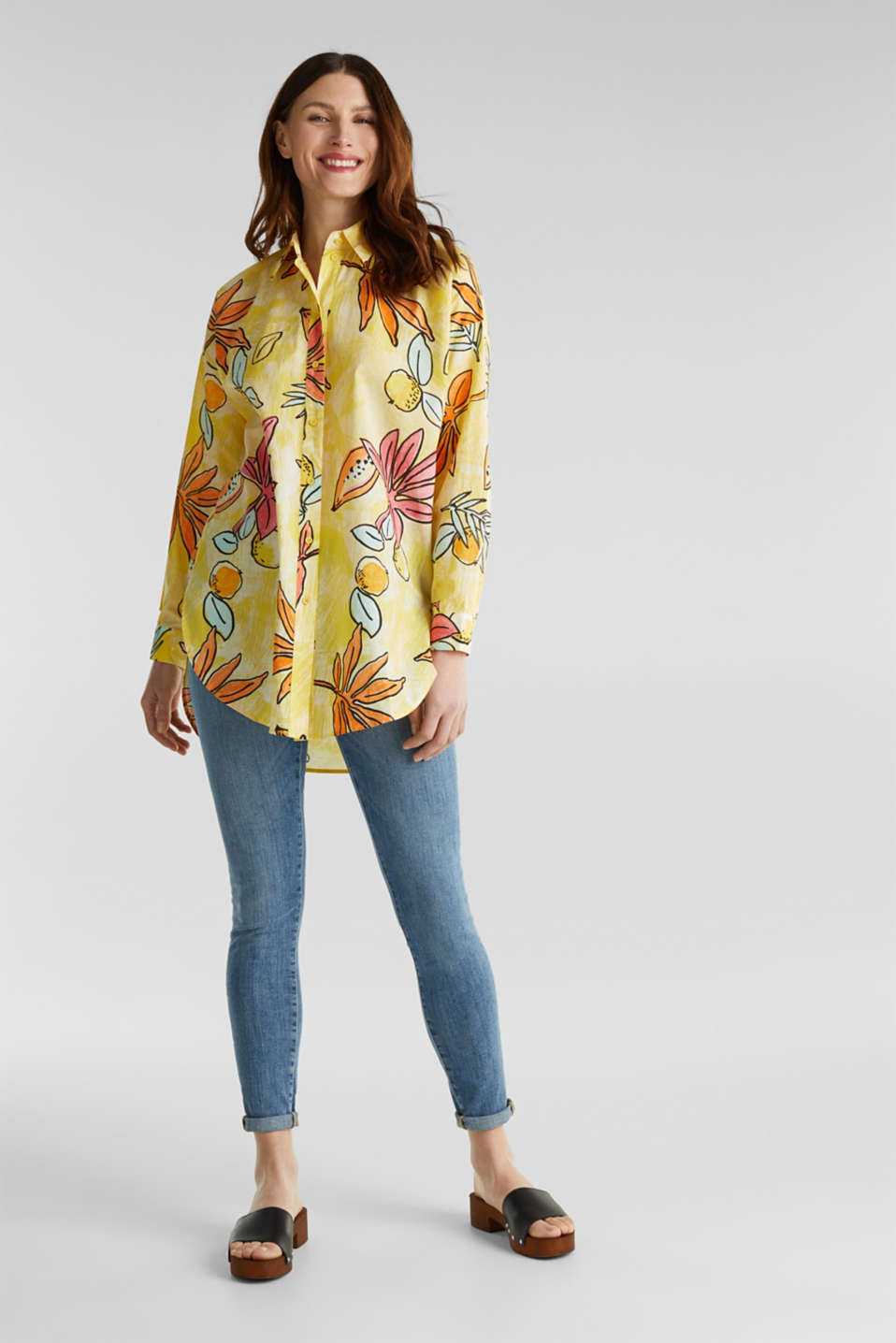 Long blouse with a print, 100% cotton, BRIGHT YELLOW 4, detail image number 1