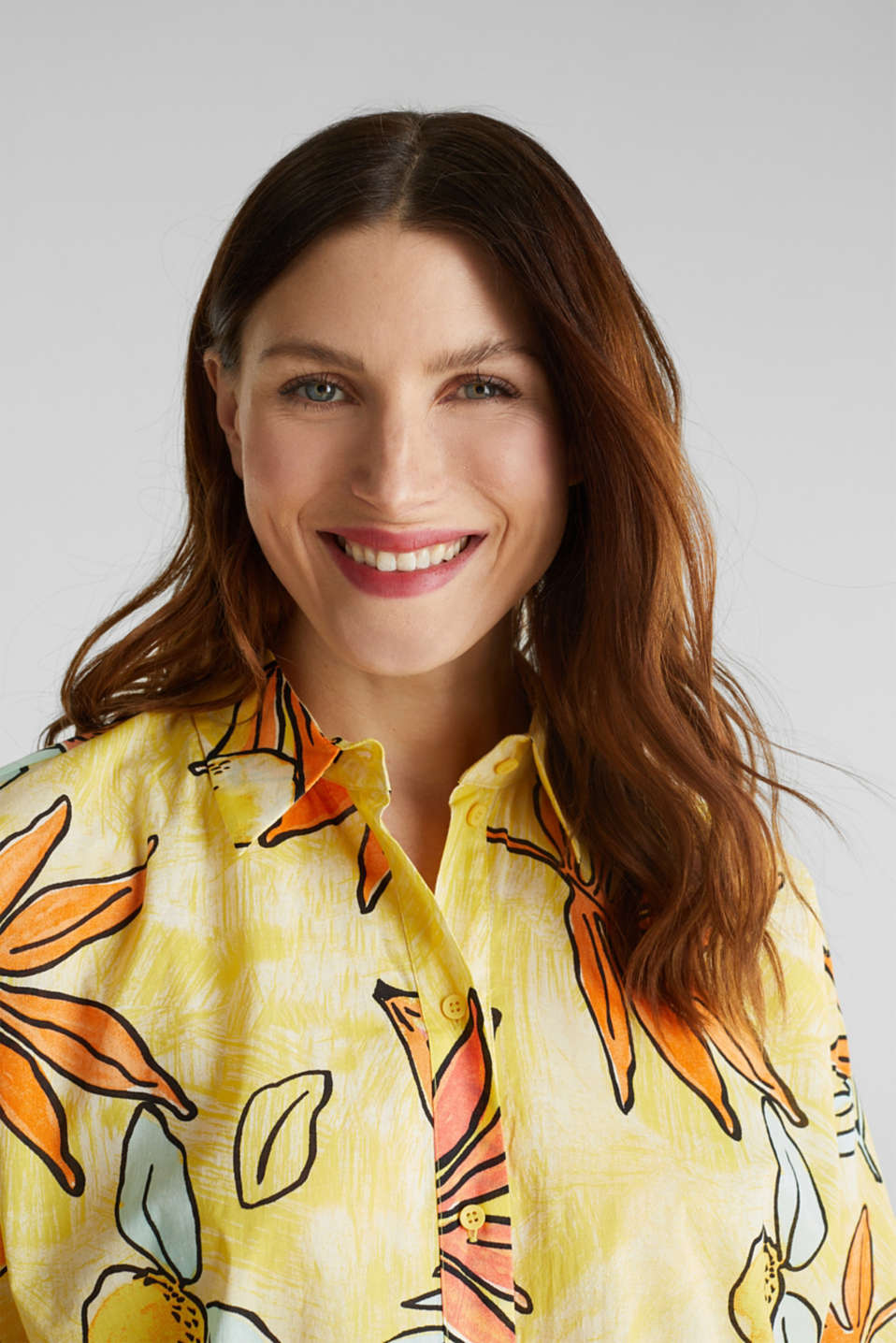 Longbluse mit Print, 100% Baumwolle, BRIGHT YELLOW 4, detail image number 6