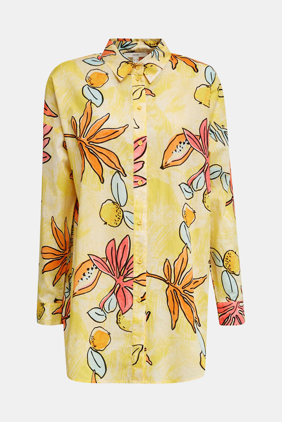 Long blouse with a print, 100% cotton, BRIGHT YELLOW 4, detail image number 7