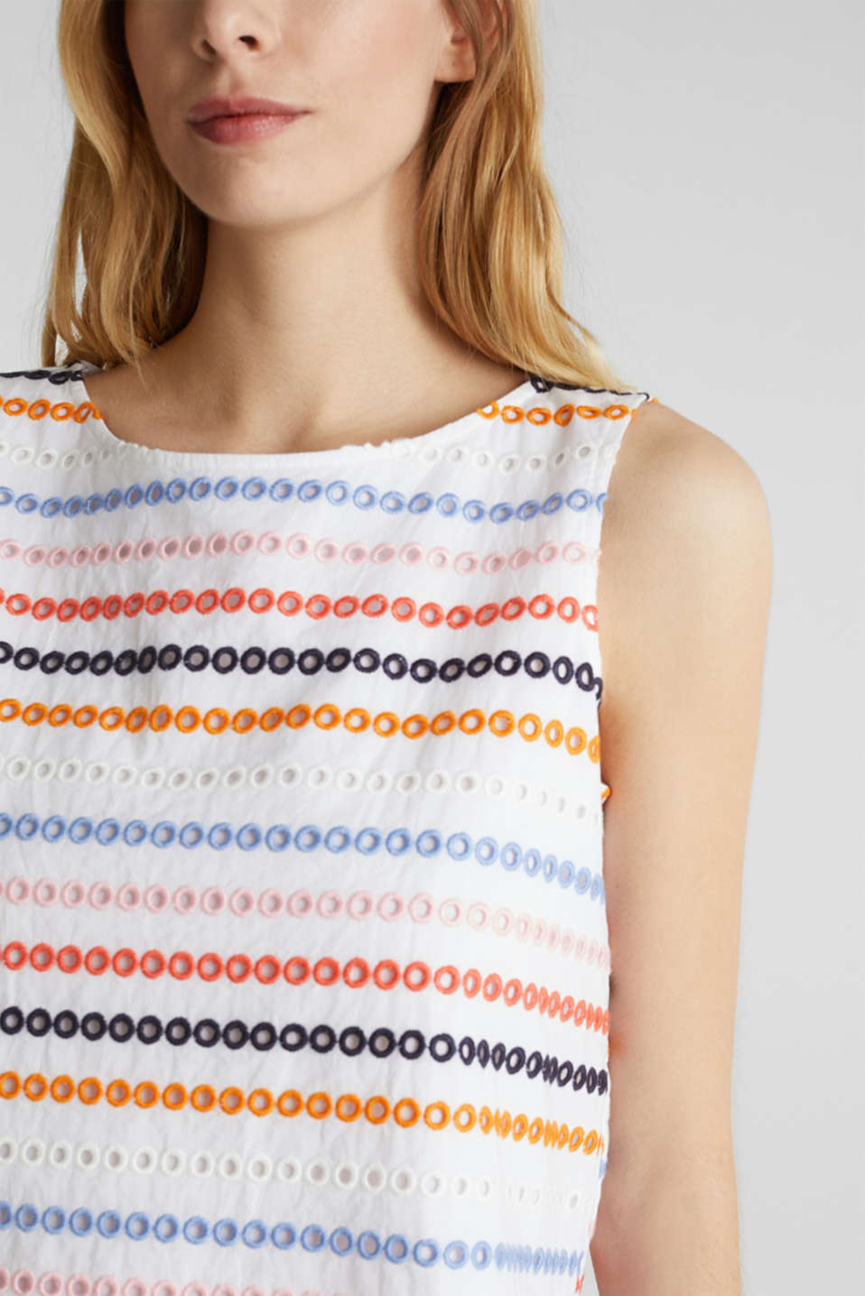 Embroidered top made of 100% cotton, WHITE, detail image number 2