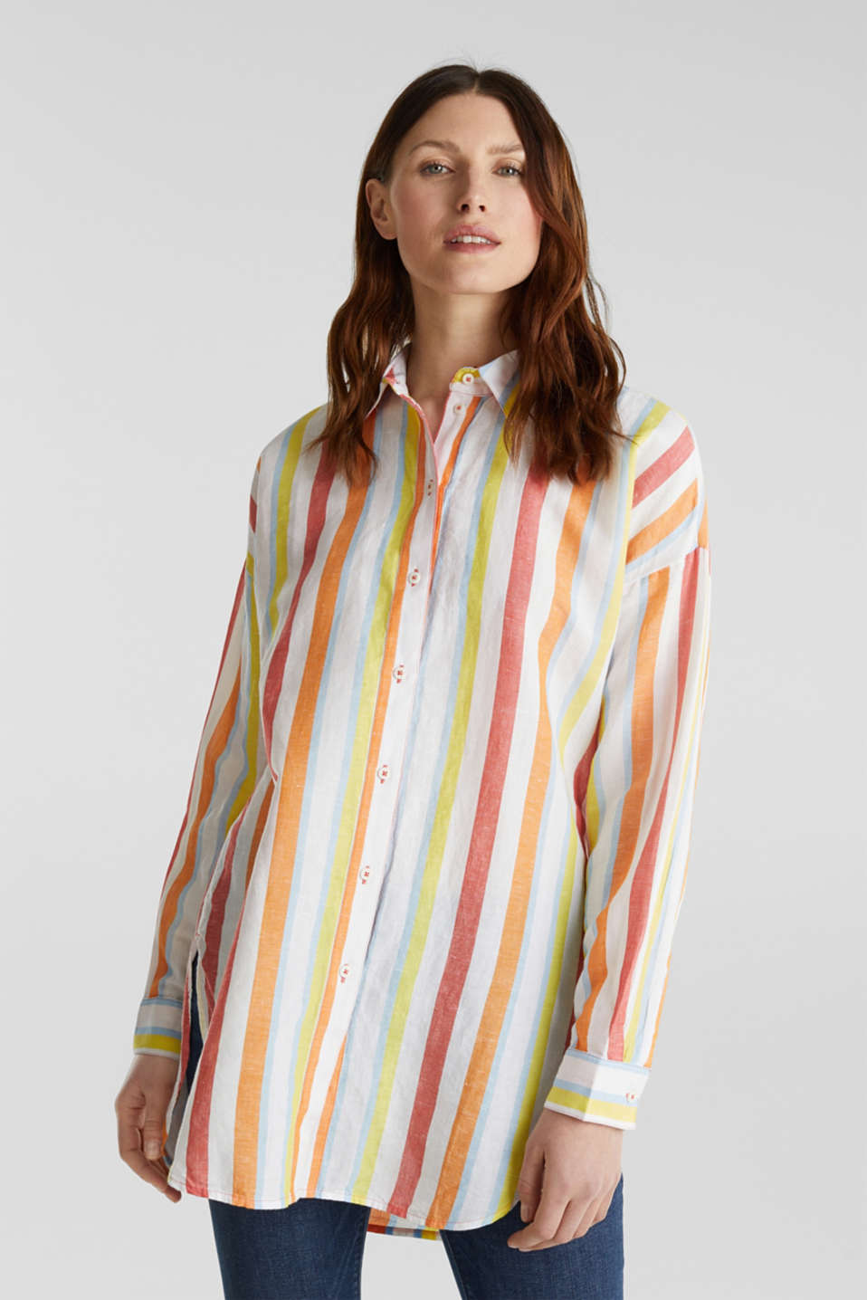 Esprit - Blended linen: Shirt blouse with stripes