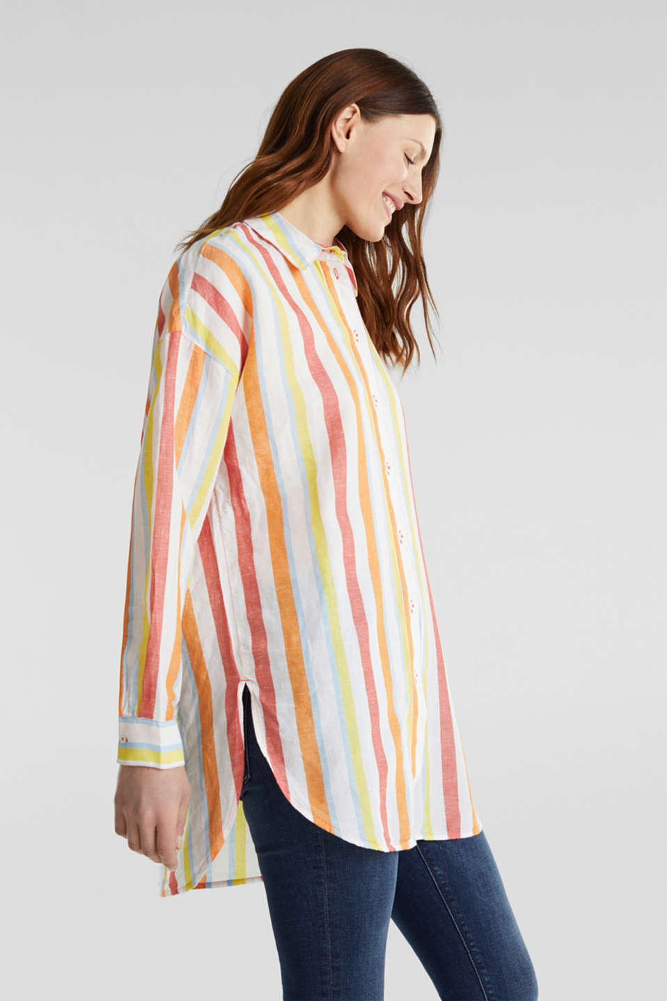 Blended linen: Shirt blouse with stripes, CORAL, detail image number 4