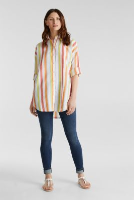 Blended linen: Shirt blouse with stripes, CORAL, detail