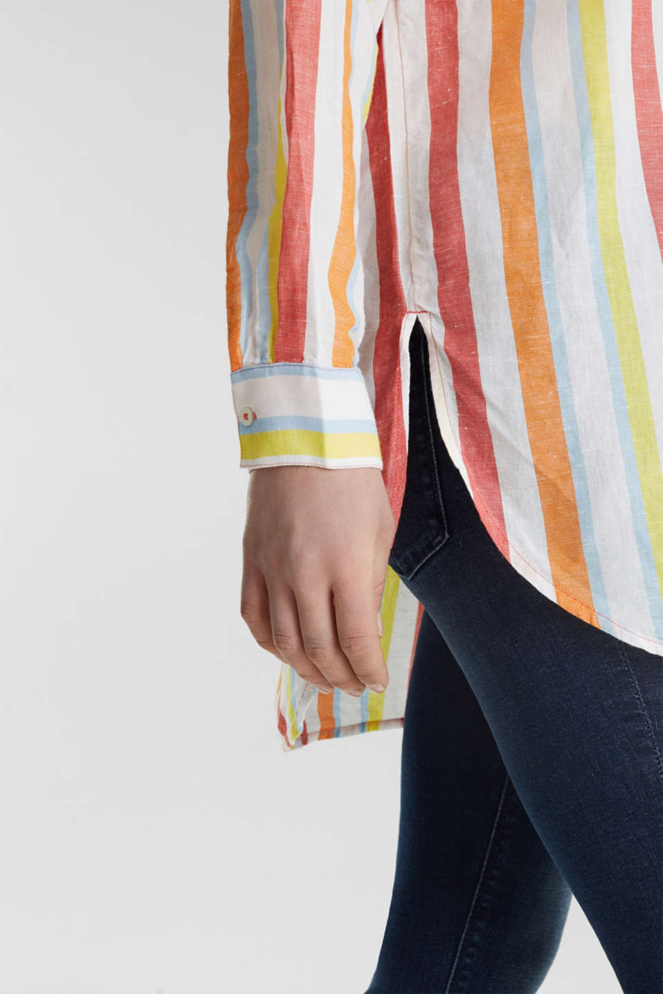 Blended linen: Shirt blouse with stripes, CORAL, detail image number 5