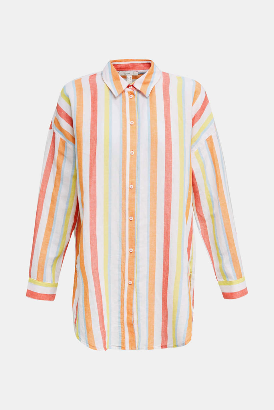 Blended linen: Shirt blouse with stripes, CORAL, detail image number 6