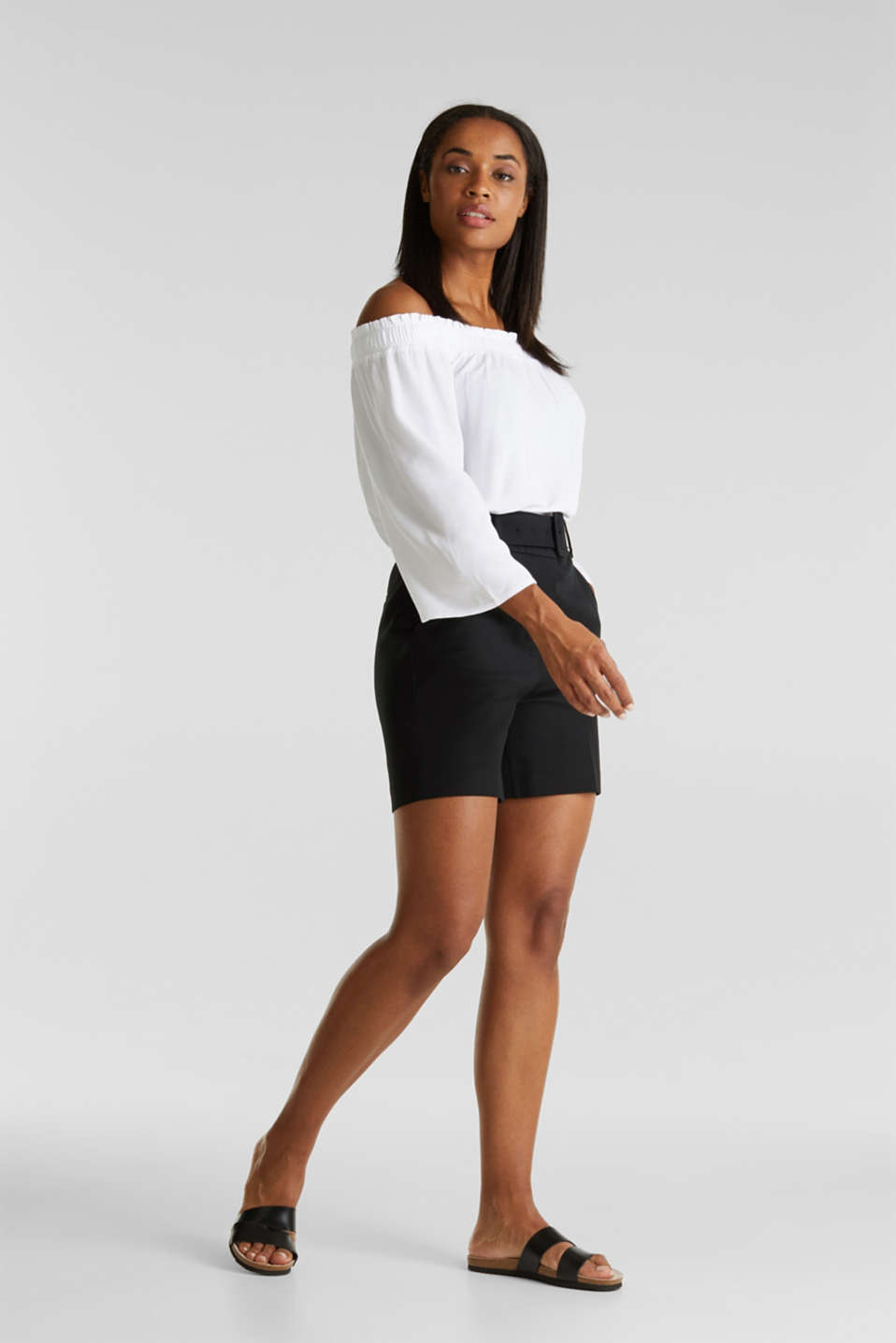 Crêpe Carmen blouse, WHITE, detail image number 1