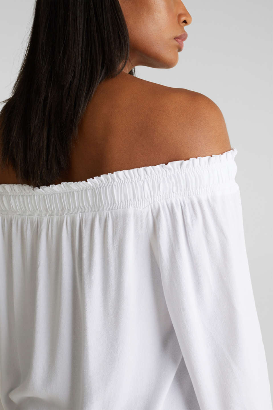 Crêpe Carmen blouse, WHITE, detail image number 2