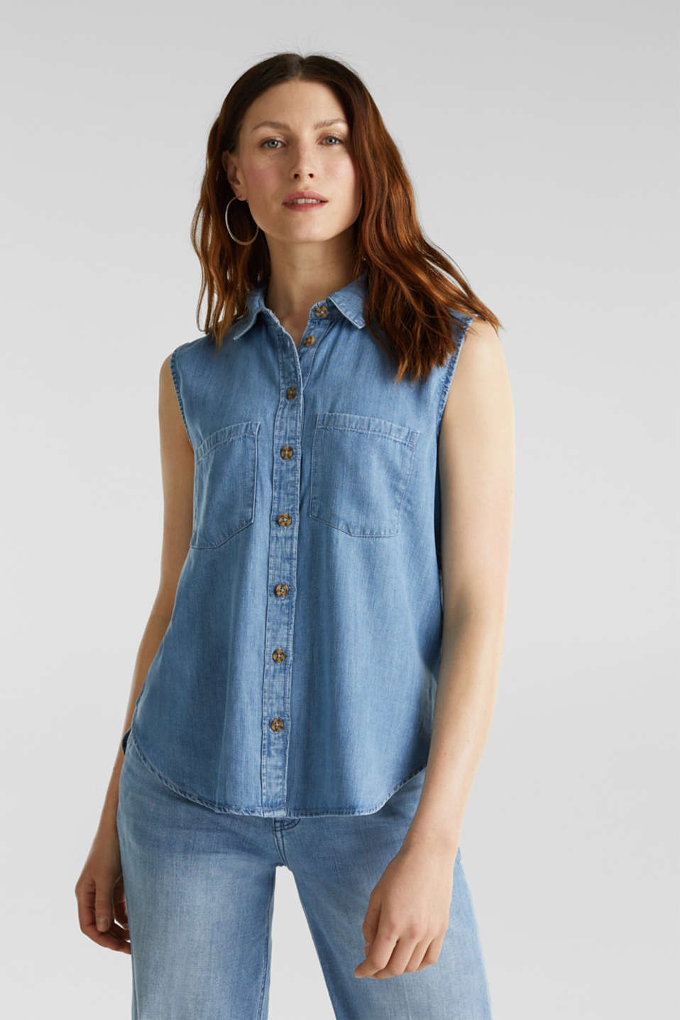 Esprit - Made of TENCEL™: Denim blouse top