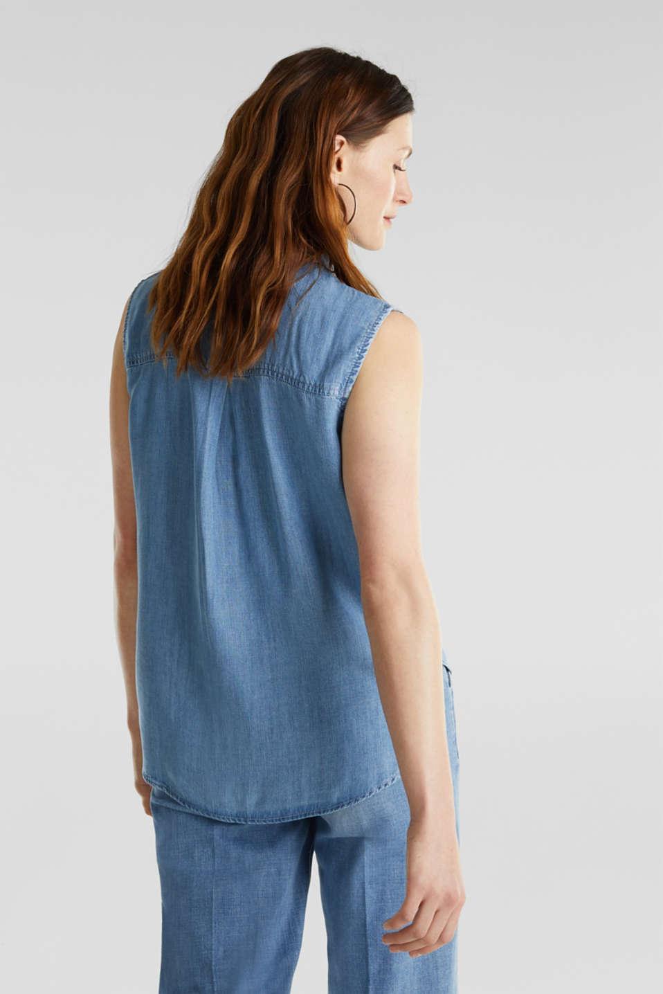 Made of TENCEL™: Denim blouse top, BLUE LIGHT WASH, detail image number 3