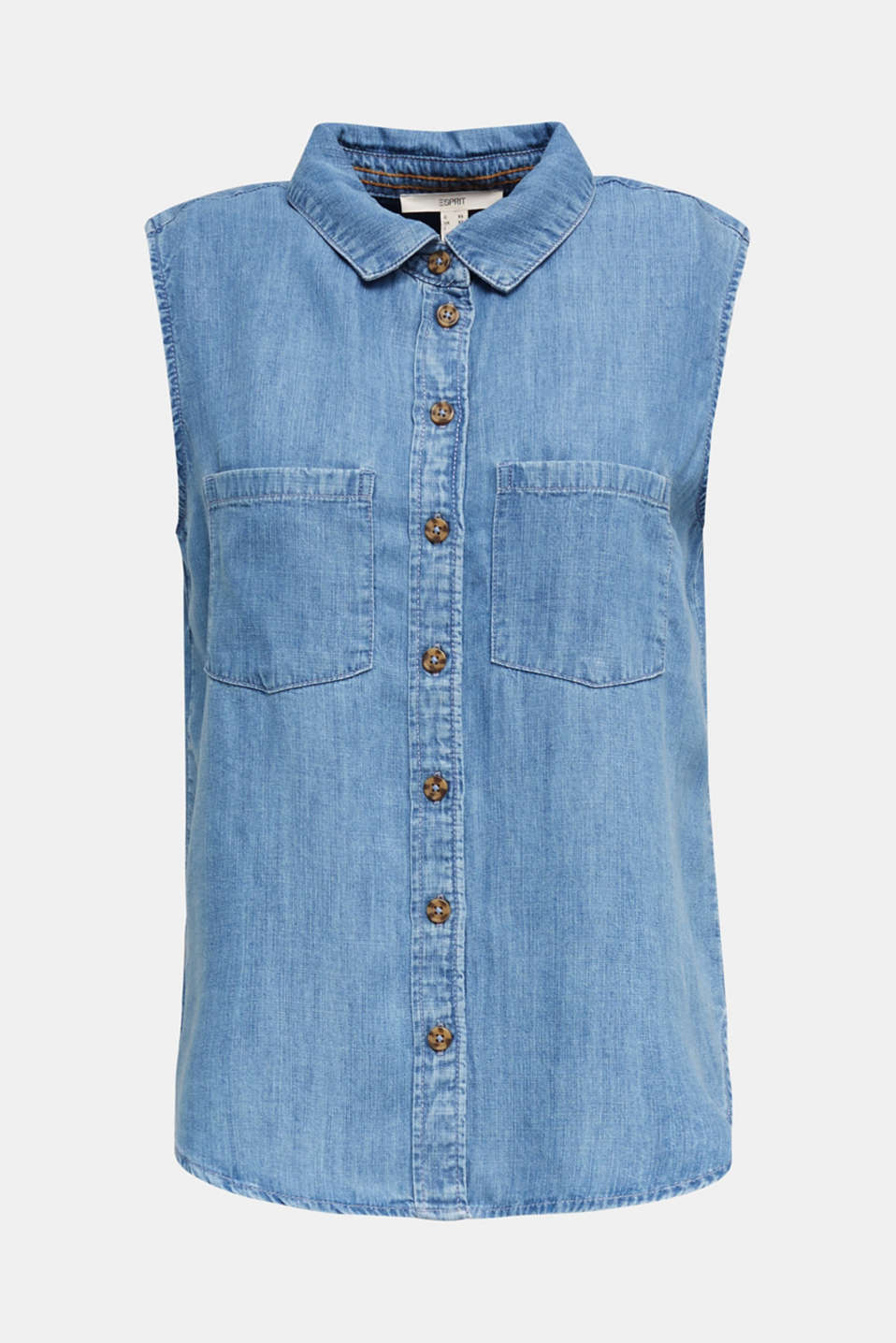Made of TENCEL™: Denim blouse top, BLUE LIGHT WASH, detail image number 6