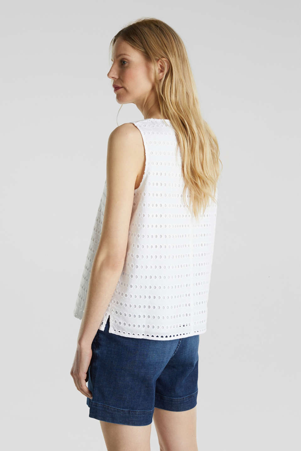 Blouse top, 100% cotton, WHITE, detail image number 3