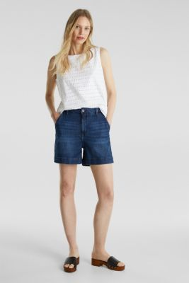 Blouse top, 100% cotton, WHITE, detail