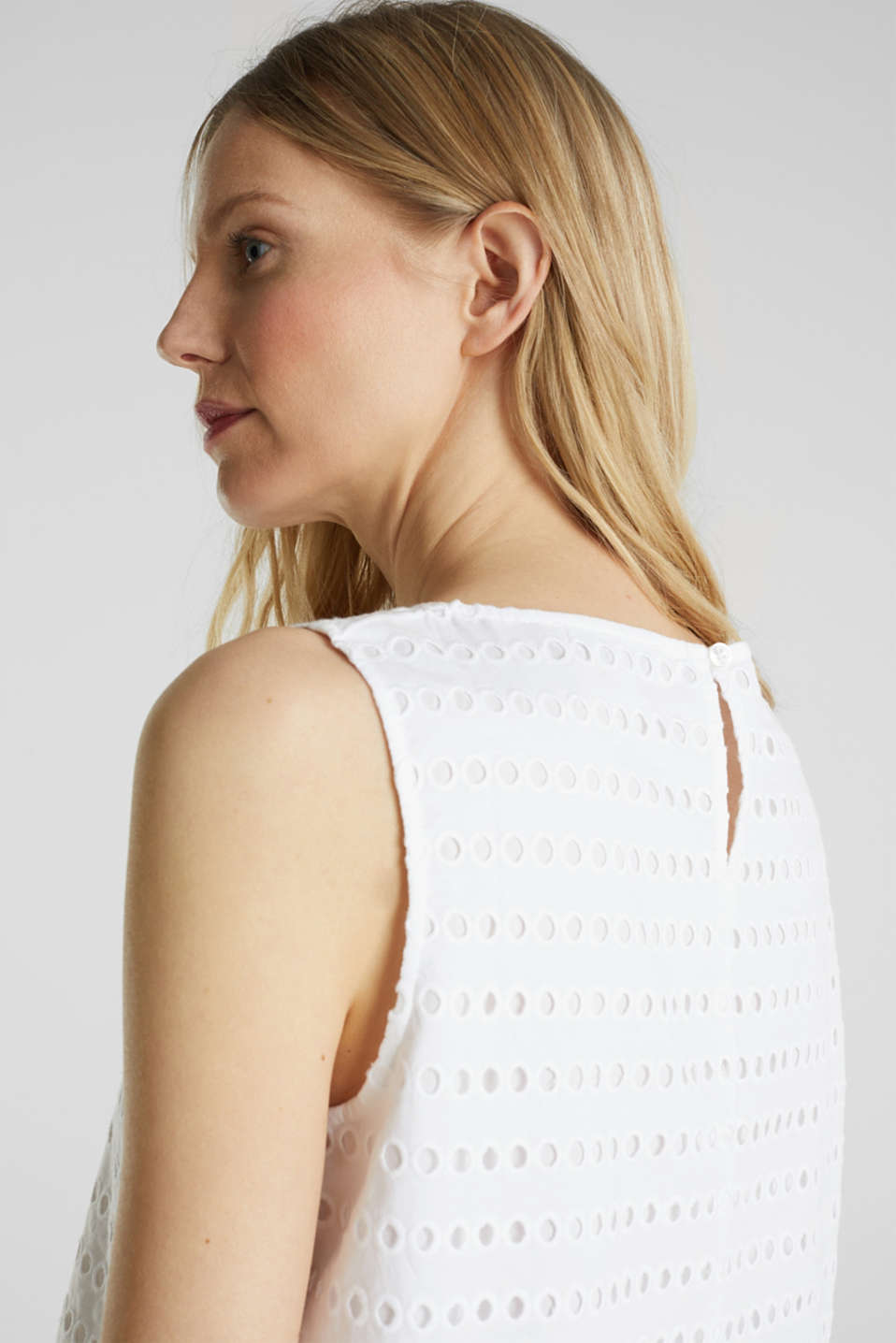 Blouse top, 100% cotton, WHITE, detail image number 6