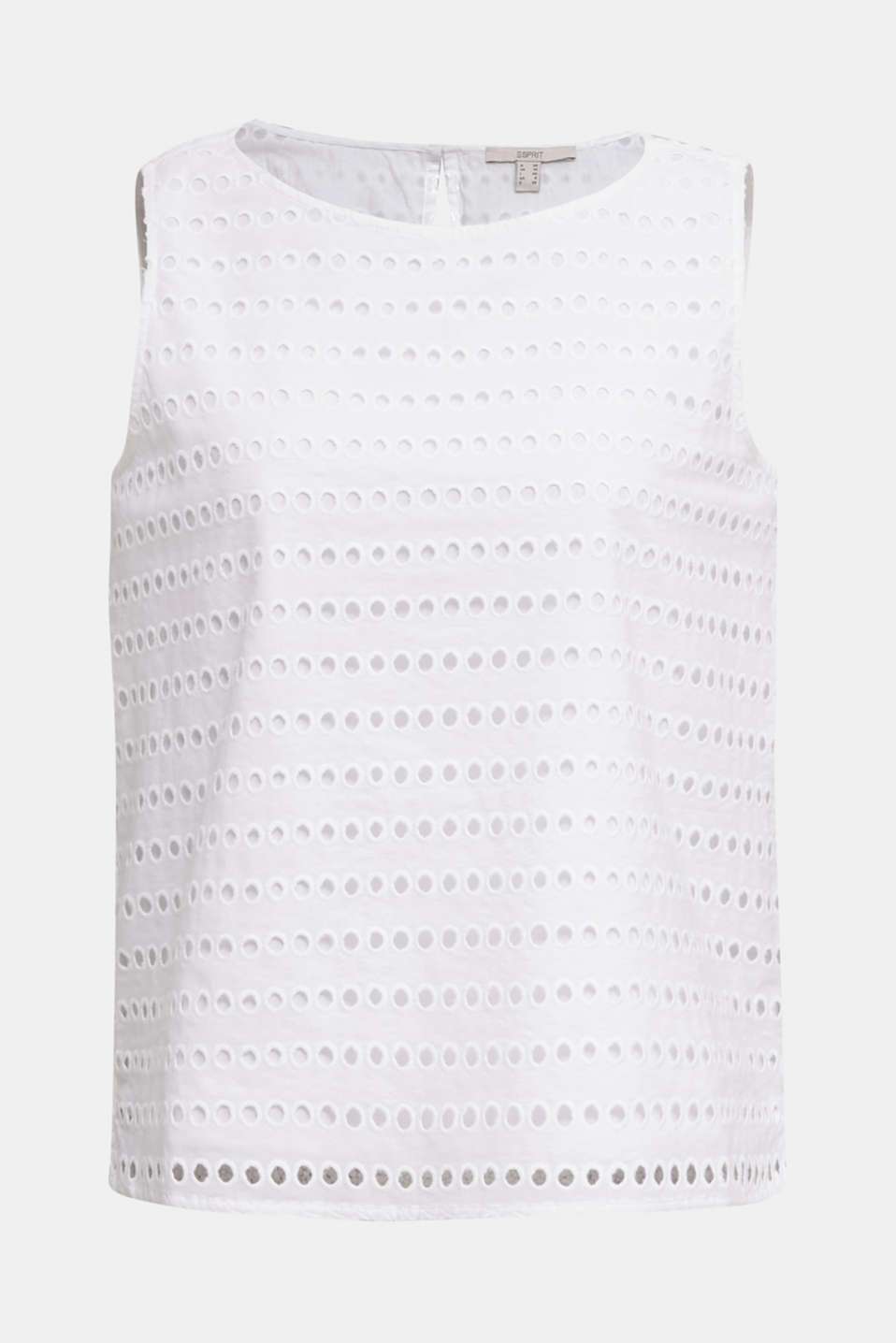 Blouse top, 100% cotton, WHITE, detail image number 8