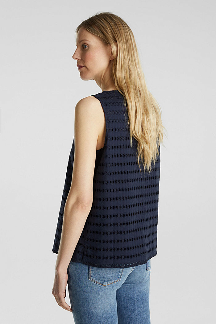 Blouse top, 100% cotton, NAVY, detail image number 3