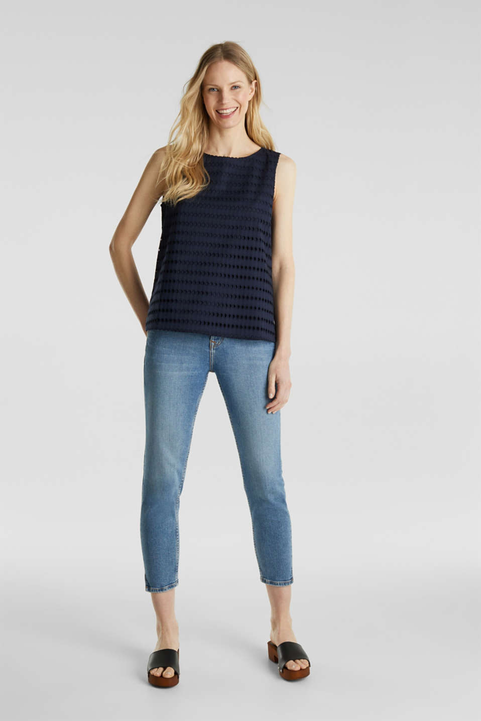 Blouse top, 100% cotton, NAVY, detail image number 1