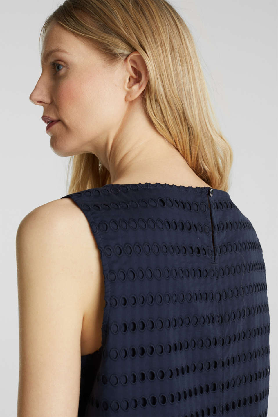 Blouse top, 100% cotton, NAVY, detail image number 2