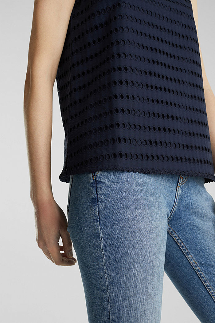 Blouse top, 100% cotton, NAVY, detail image number 5