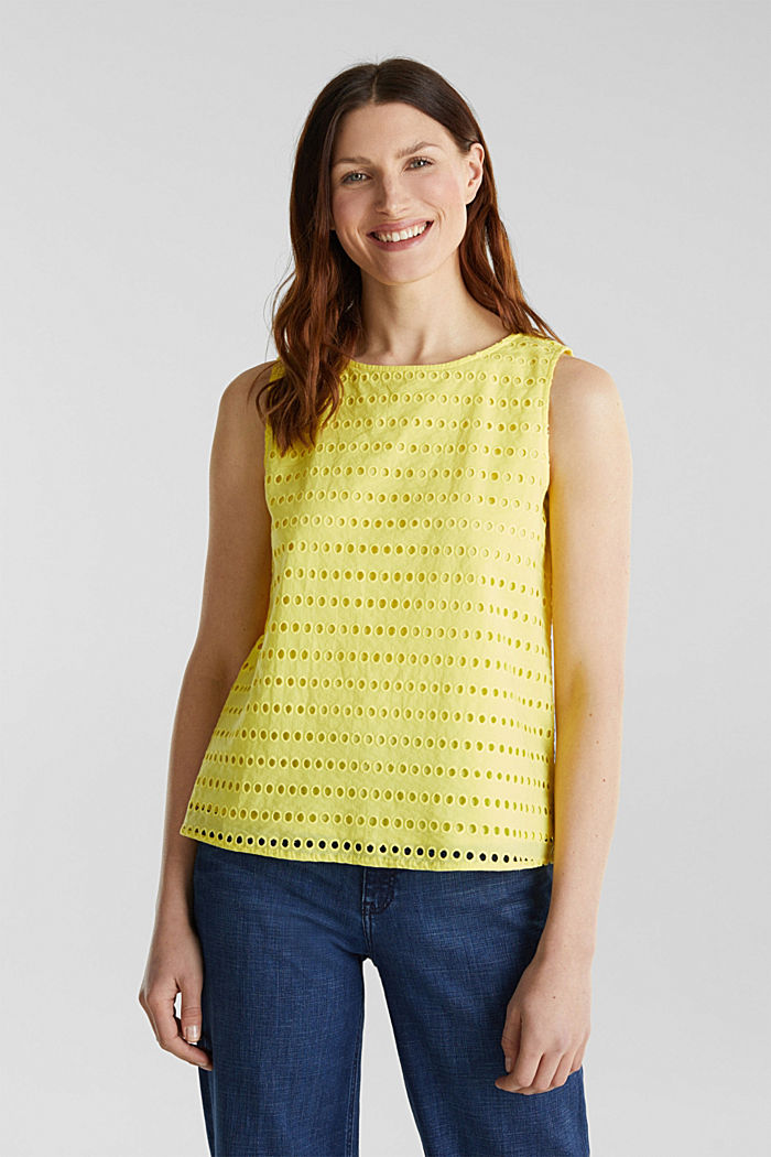 Blouse top, 100% cotton, BRIGHT YELLOW, detail image number 0
