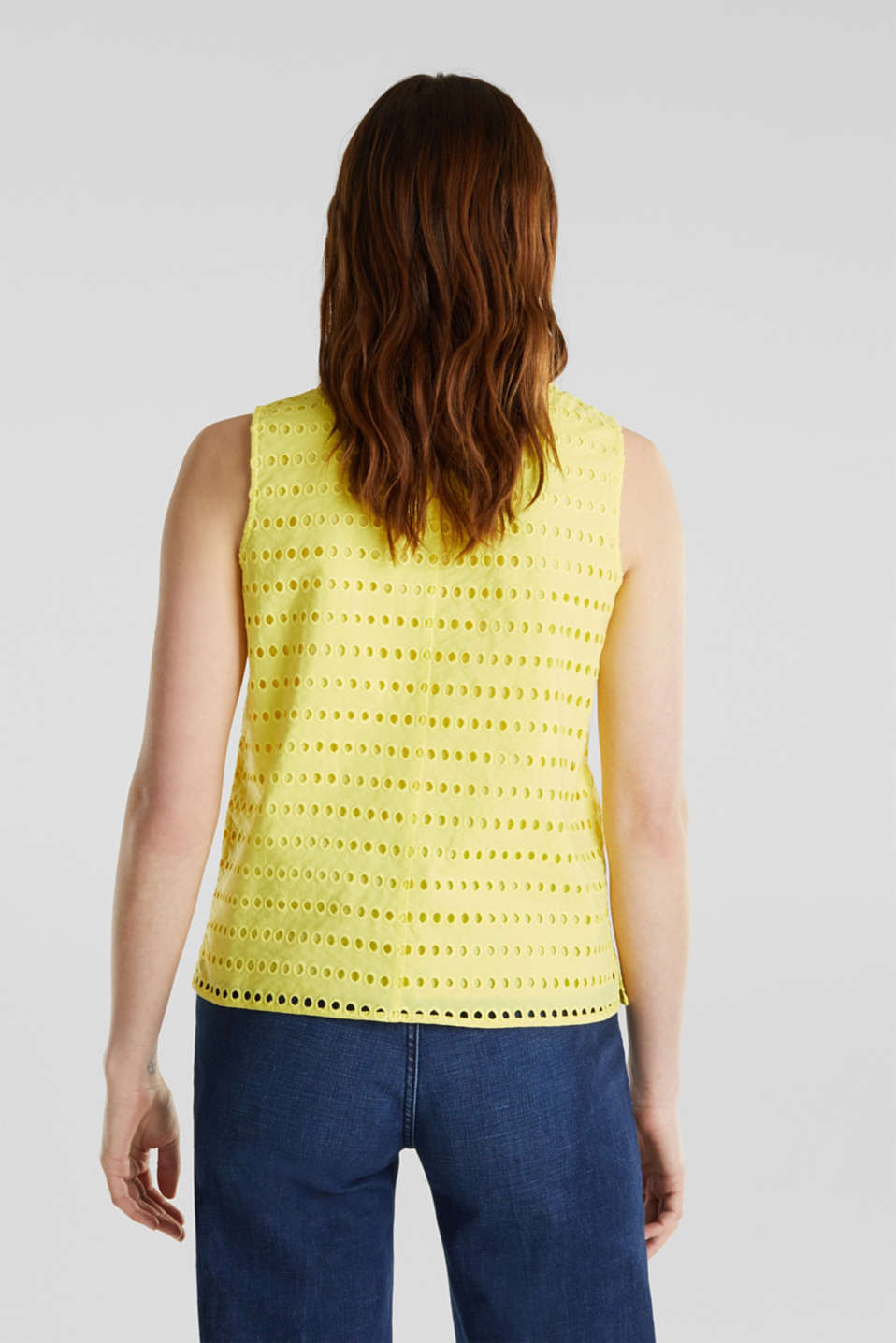 Blouse top, 100% cotton, BRIGHT YELLOW, detail image number 3