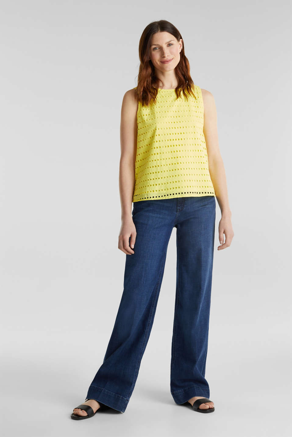 Blouse top, 100% cotton, BRIGHT YELLOW, detail image number 1