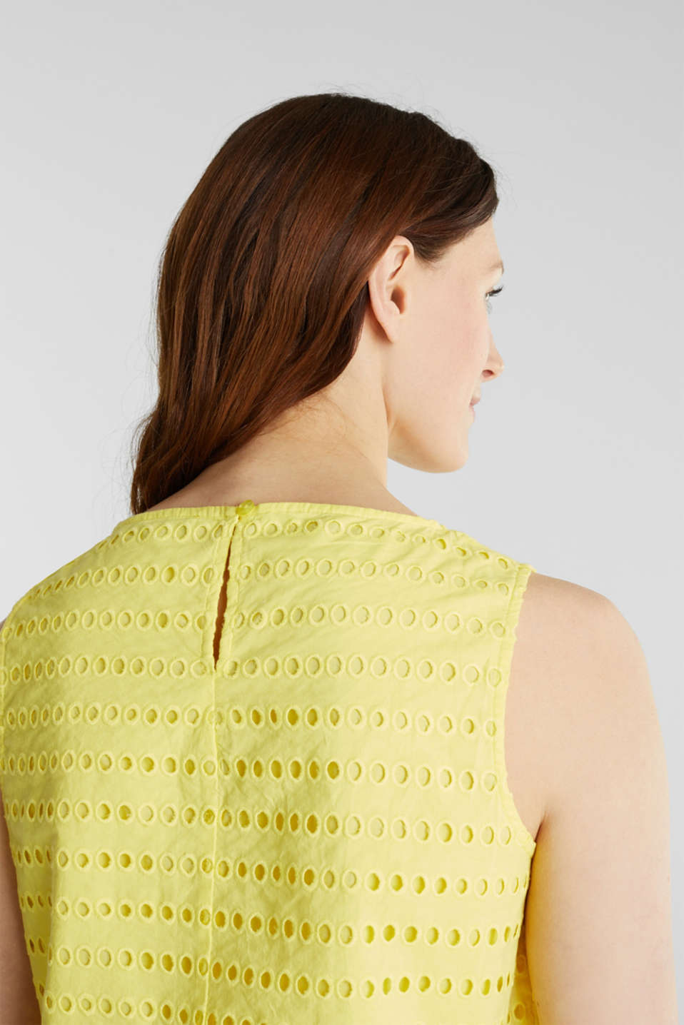 Blouse top, 100% cotton, BRIGHT YELLOW, detail image number 5