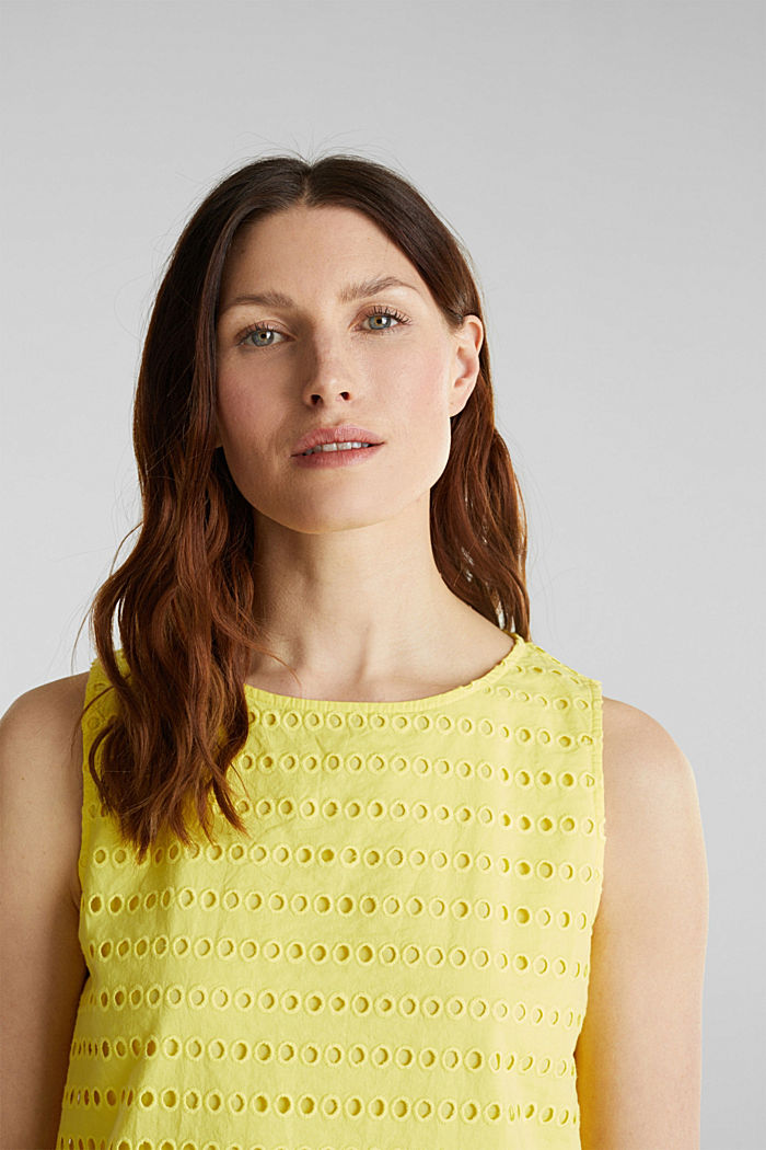 Blouse top, 100% cotton, BRIGHT YELLOW, detail image number 6