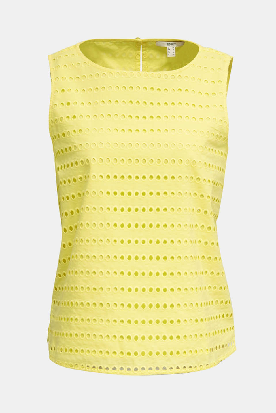 Blouse top, 100% cotton, BRIGHT YELLOW, detail image number 7