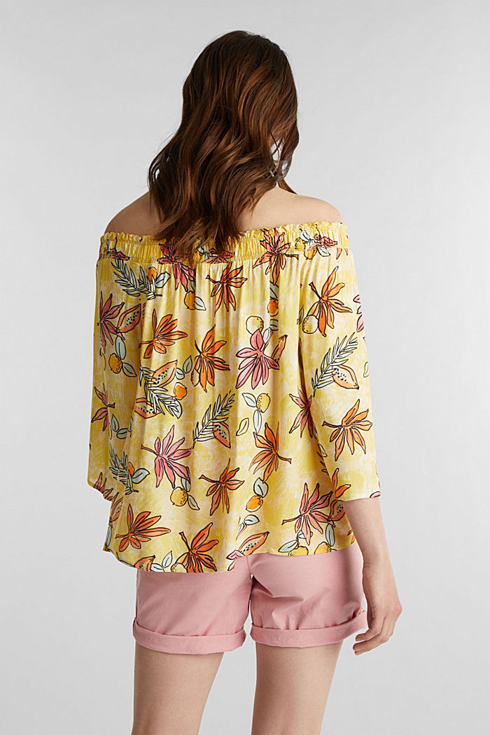 Carmen blouse with a print, BRIGHT YELLOW, detail image number 3