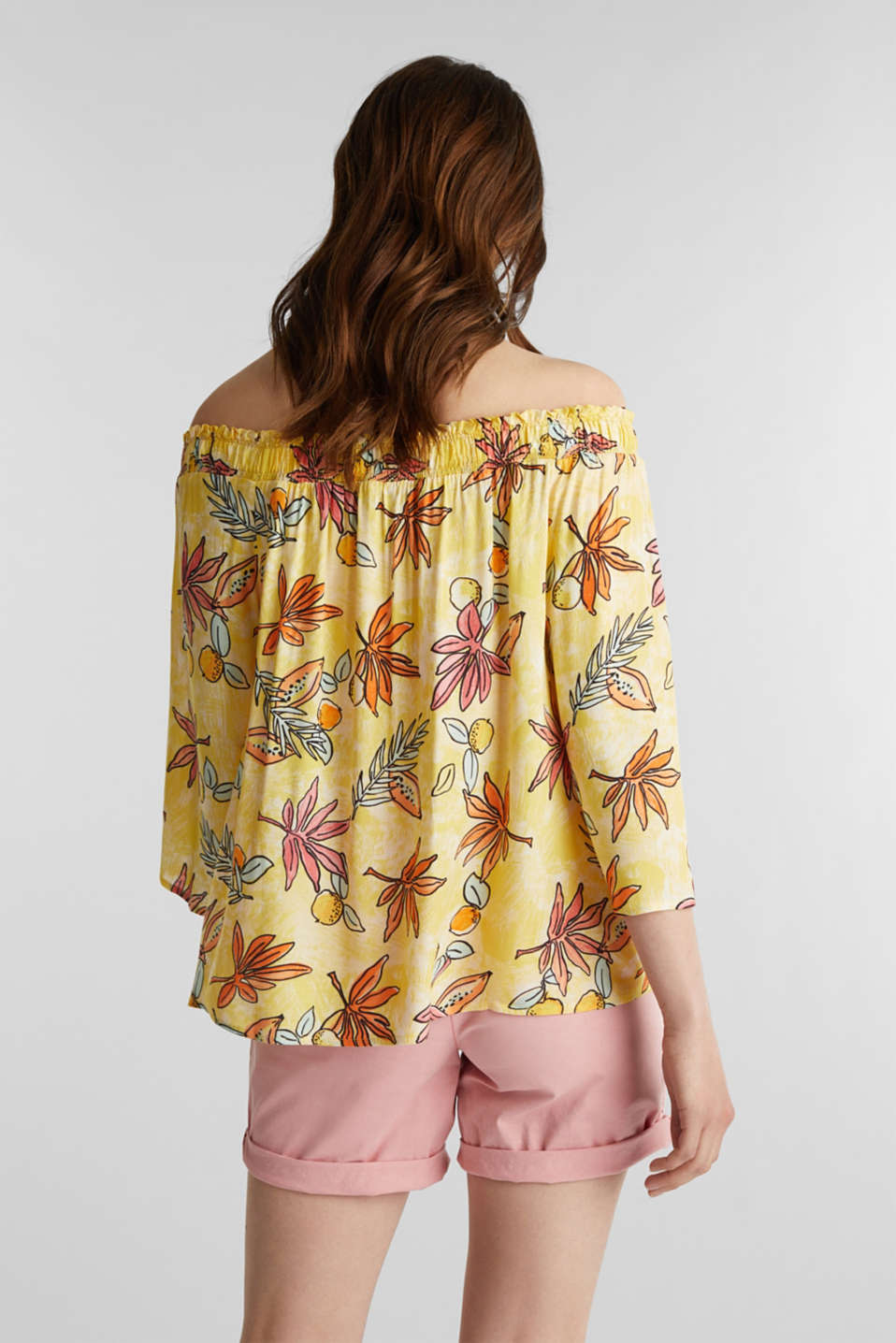 Carmen blouse with a print, BRIGHT YELLOW 4, detail image number 3