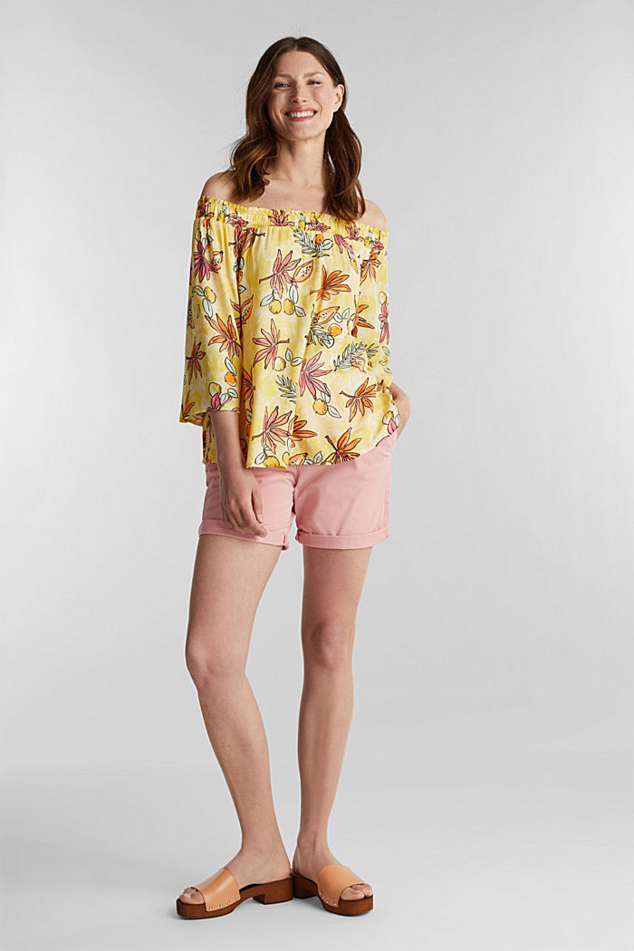 Carmen blouse with a print, BRIGHT YELLOW, detail image number 1
