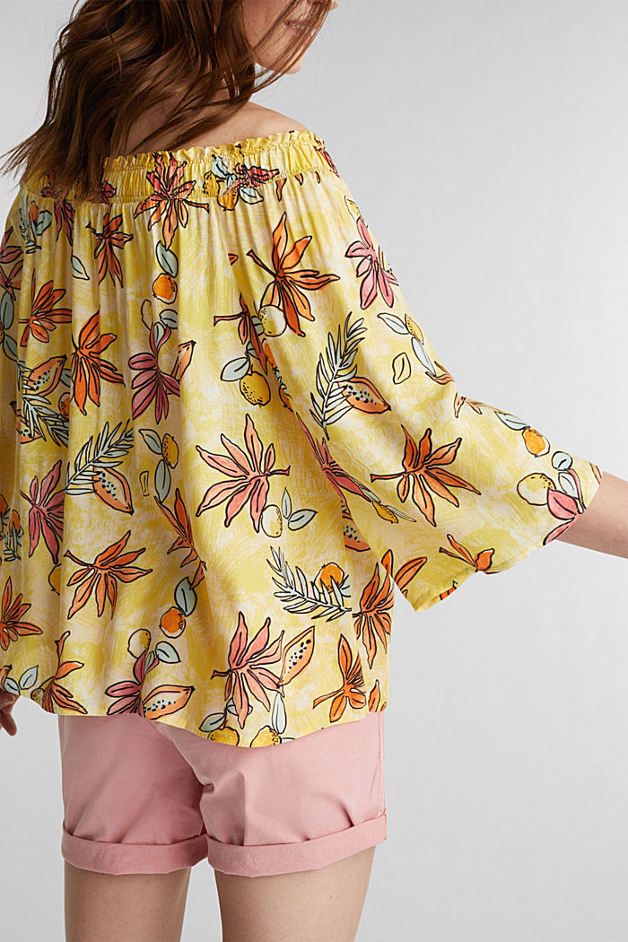 Carmen blouse with a print, BRIGHT YELLOW, detail image number 2