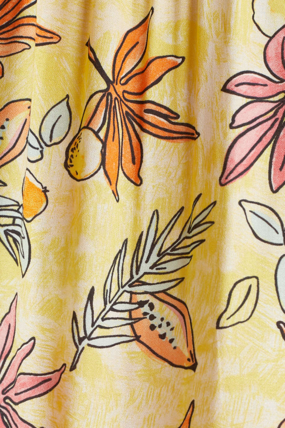Carmen blouse with a print, BRIGHT YELLOW 4, detail image number 4