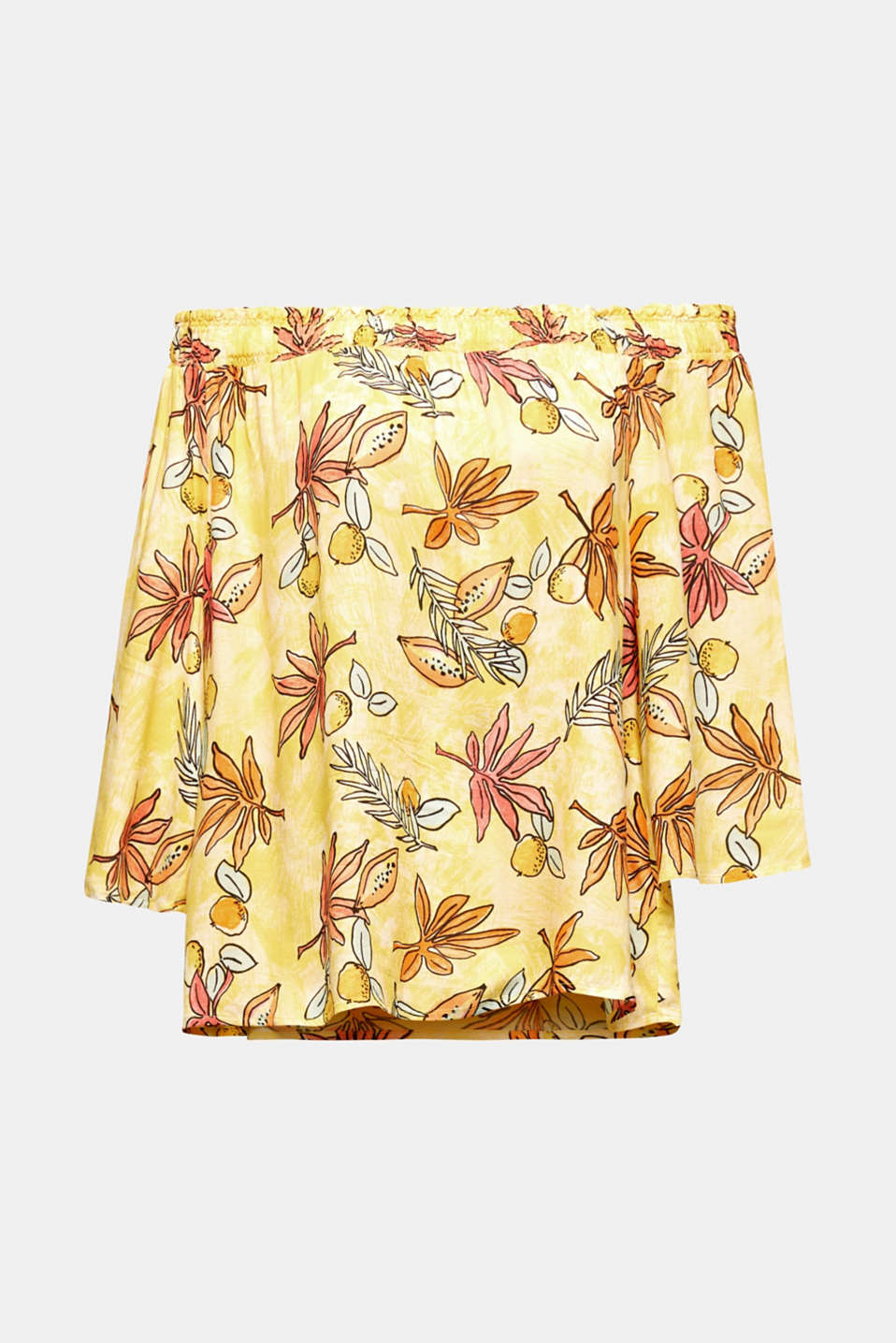 Carmen blouse with a print, BRIGHT YELLOW 4, detail image number 6