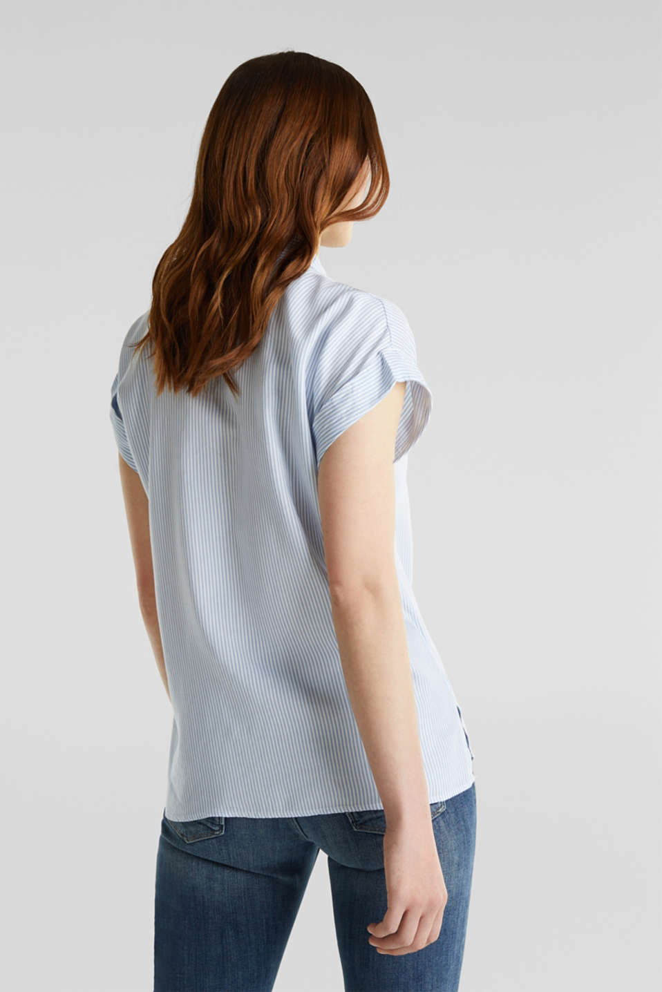 Made of TENCEL™: blouse with stripes, LIGHT BLUE 4, detail image number 3
