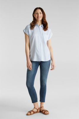 Made of TENCEL™: blouse with stripes, LIGHT BLUE 4, detail