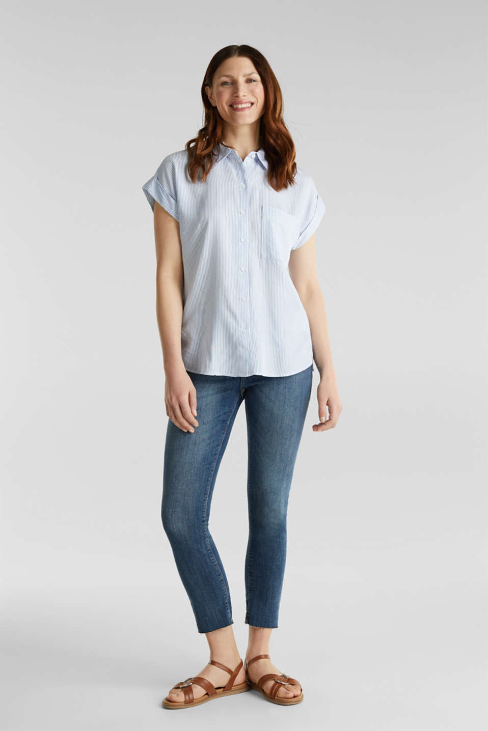 Made of TENCEL™: blouse with stripes, LIGHT BLUE 4, detail image number 1