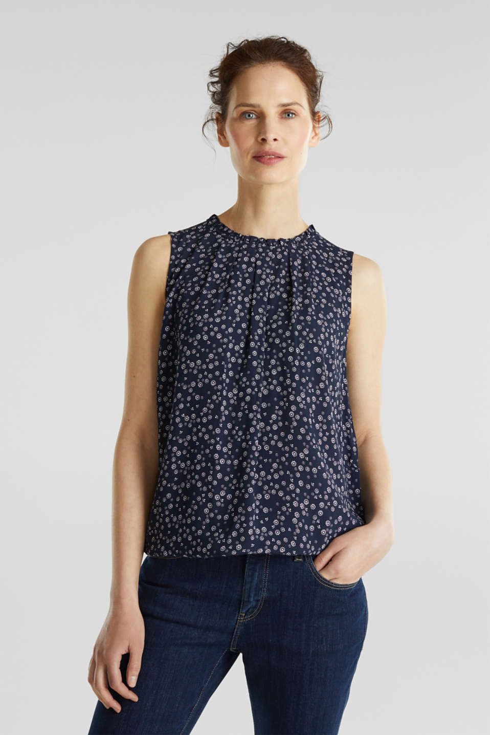 Blouse top made of LENZING™ ECOVERO™, NAVY 4, detail image number 0