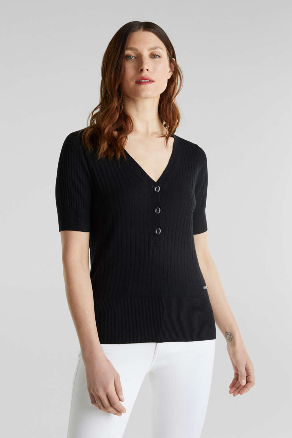 Esprit - With linen: jumper with a button placket
