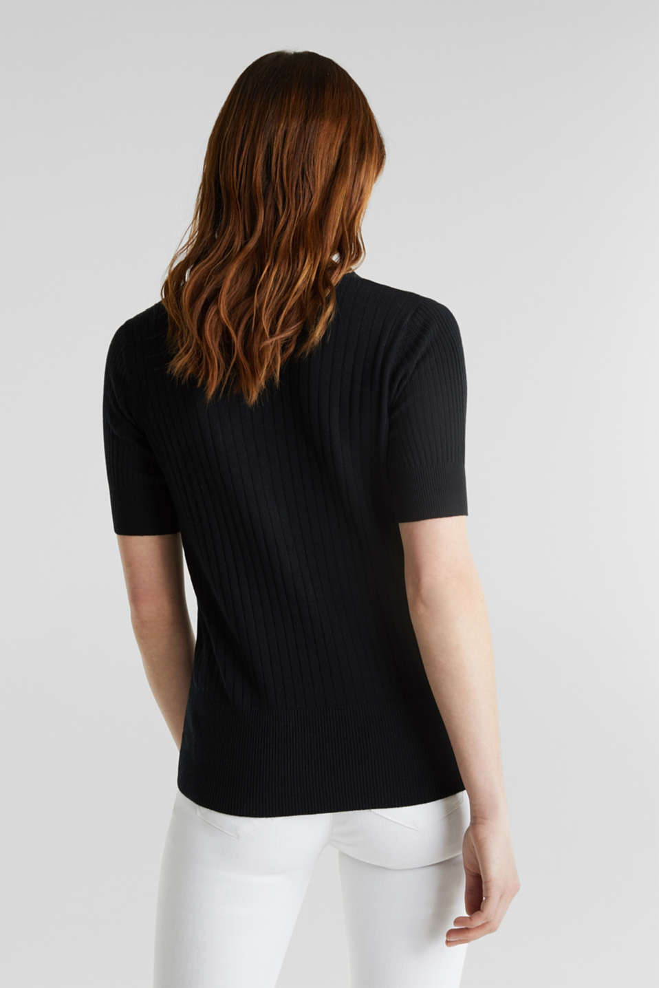 With linen: jumper with a button placket, BLACK, detail image number 2