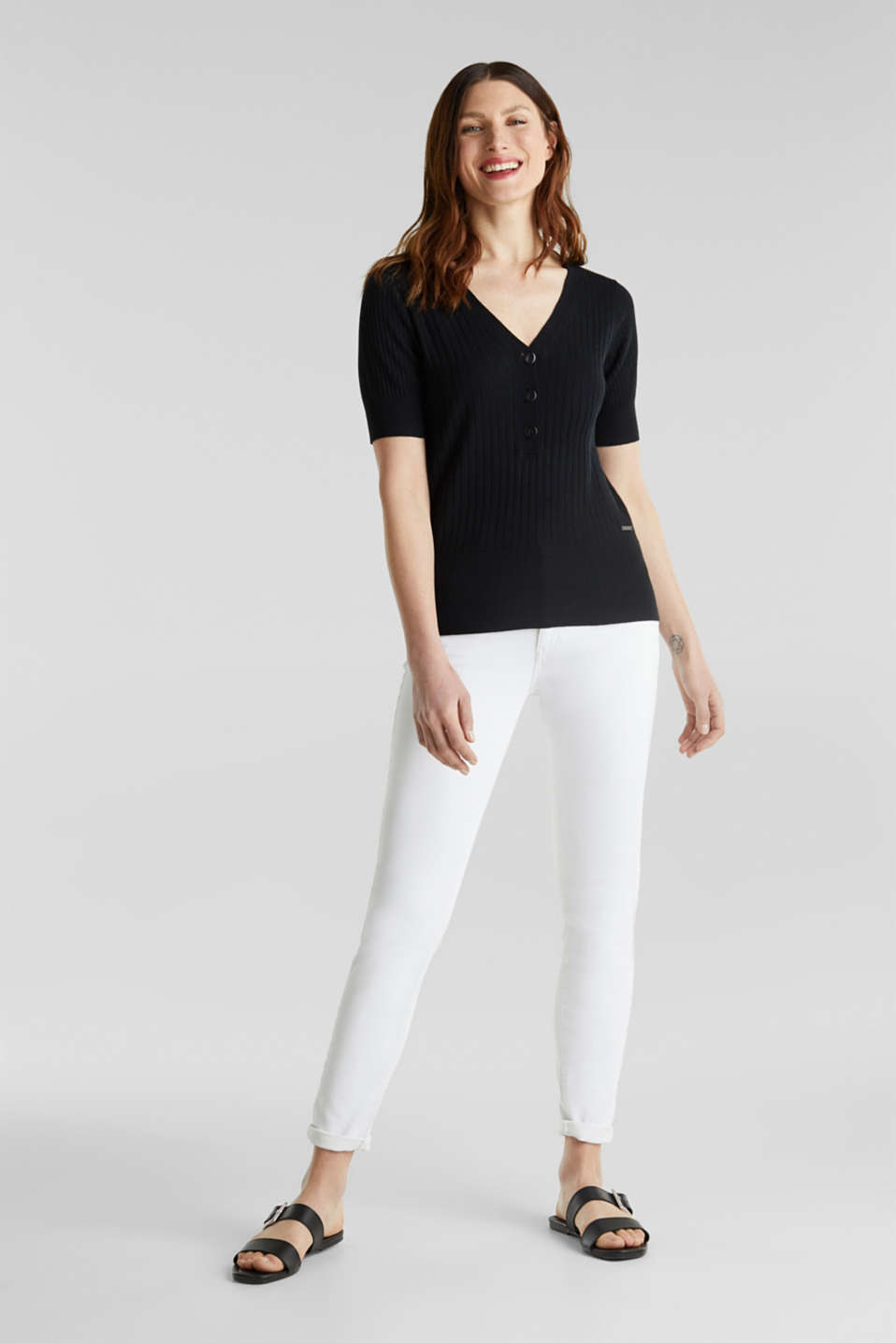 With linen: jumper with a button placket, BLACK, detail image number 1