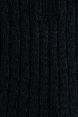 With linen: jumper with a button placket, BLACK, detail