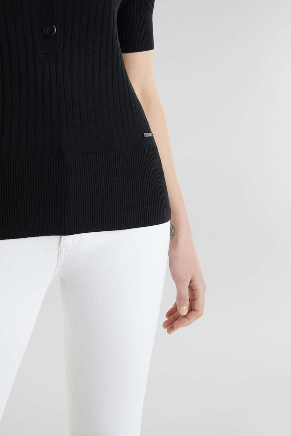 With linen: jumper with a button placket, BLACK, detail image number 4