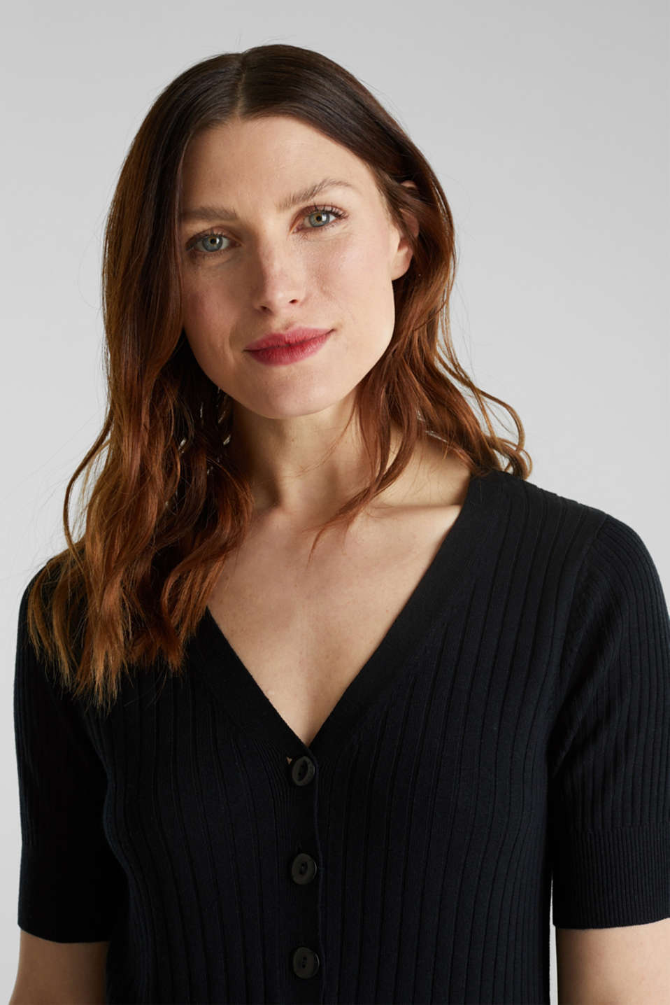 With linen: jumper with a button placket, BLACK, detail image number 5