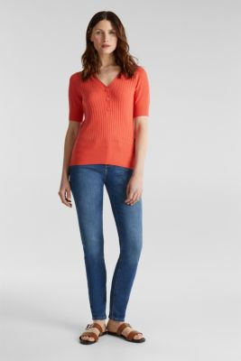 With linen: jumper with a button placket, CORAL, detail