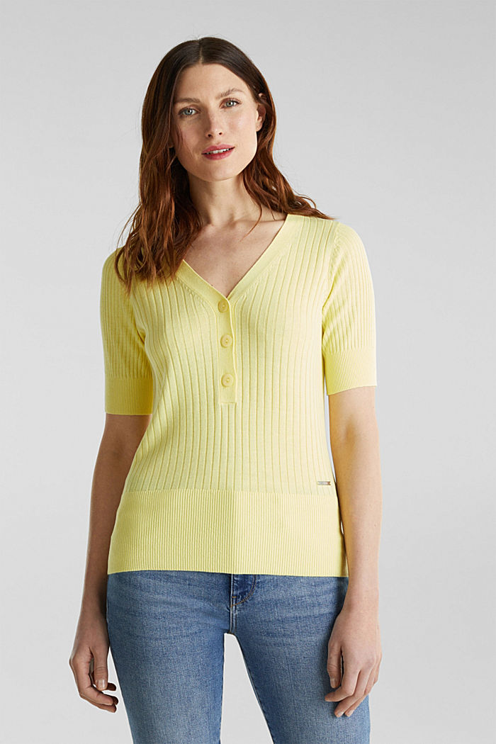 With linen: jumper with a button placket, LIME YELLOW, detail image number 0
