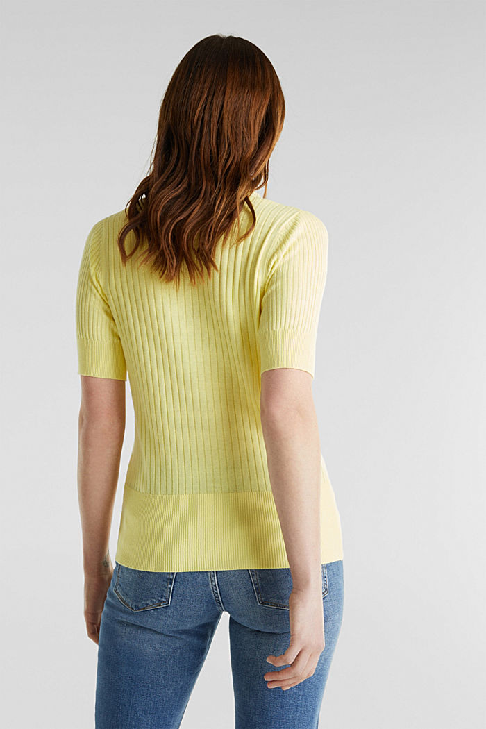 With linen: jumper with a button placket, LIME YELLOW, detail image number 2
