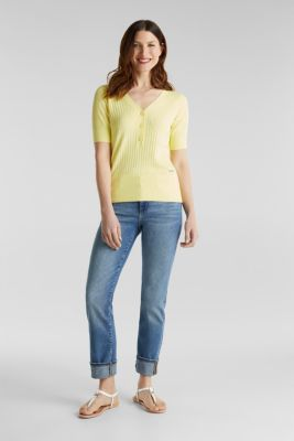 With linen: jumper with a button placket, LIME YELLOW, detail